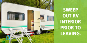 """parked RV with invasive species tip: """"Sweep out RV interior prior to leaving."""""""