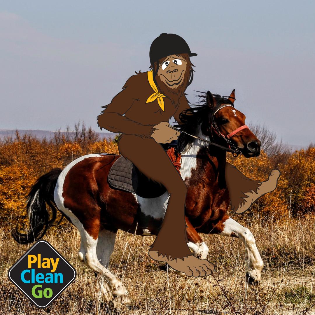 Steward bigfoot riding on horseback