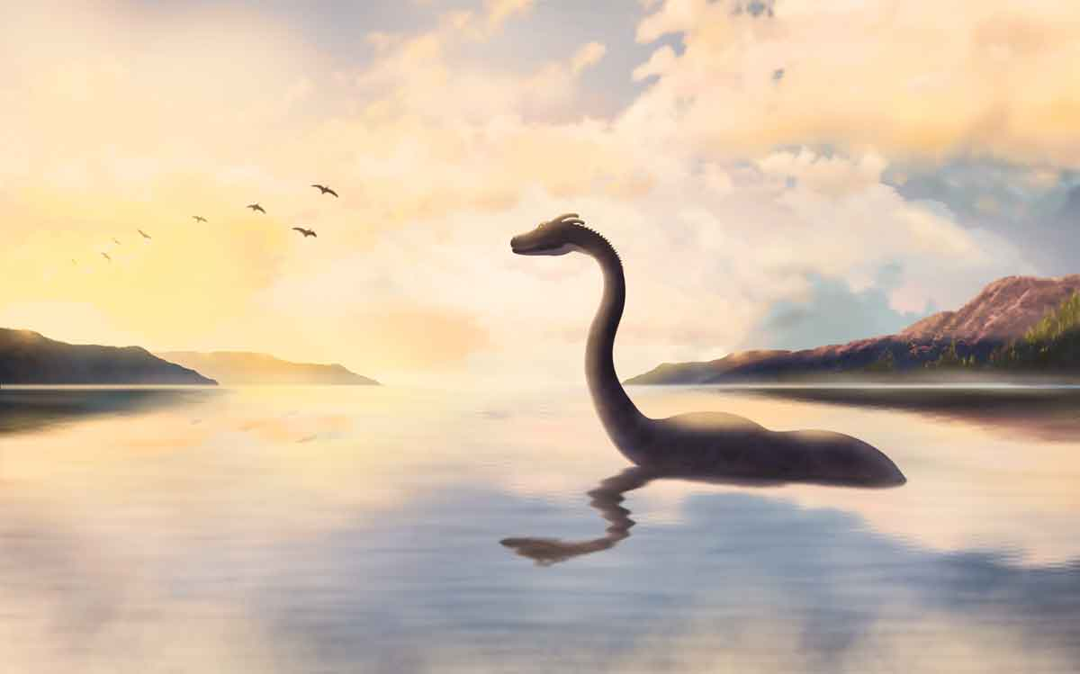 FILE #: 307496516 Preview Crop Find Similar The Loch ness monster looks at the birds at sunset.